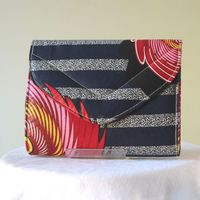 Almost square wax clutch - navy and pink