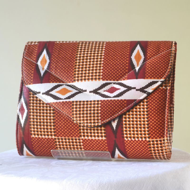 African wax clutch - brown, white, prune, orange
