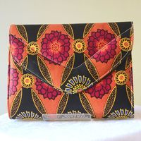 Wax small handbag - almost square - orange, fuchsia, yellow, blue, black