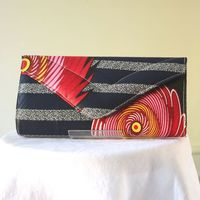 Long wax handbag, clutch - fuchsia, yellow, red and navy