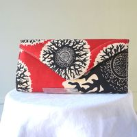 Wax handbag, long clutch - red, black and cream