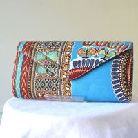 Wax long handbag, clutch - turquoise, orange