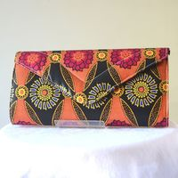 Pochette longue, sac à main en wax - fuchsia, orange, noir, jaune..