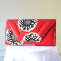 Wax large clutch - red, black, cream