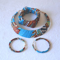 Wax jewel set - necklace, bracelet and earrings - turquoise