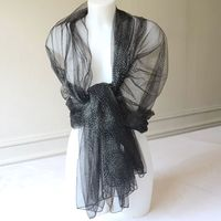 "Wedding, evening stole - ""1001 nights"" - black with silver dots"