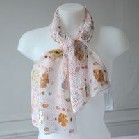 """Long Sophie Digard scarf - pale pink and pastel linen - """"Immortelle"""""""