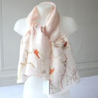 Sophie Digard - large stole - pale pink linen with hand embroideries