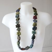 """Long Hand crafted Sophie Digard necklace - hairthin threads in merino wool - """"Tiny Geant"""""""