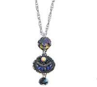 Necklace, neckpendant by Ayala Bar with dark blue beads and crystals