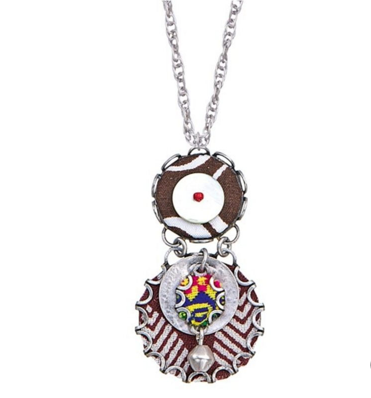 Ayala Bar necklace with pendant - ethnical patterns - brown/ivory and colours