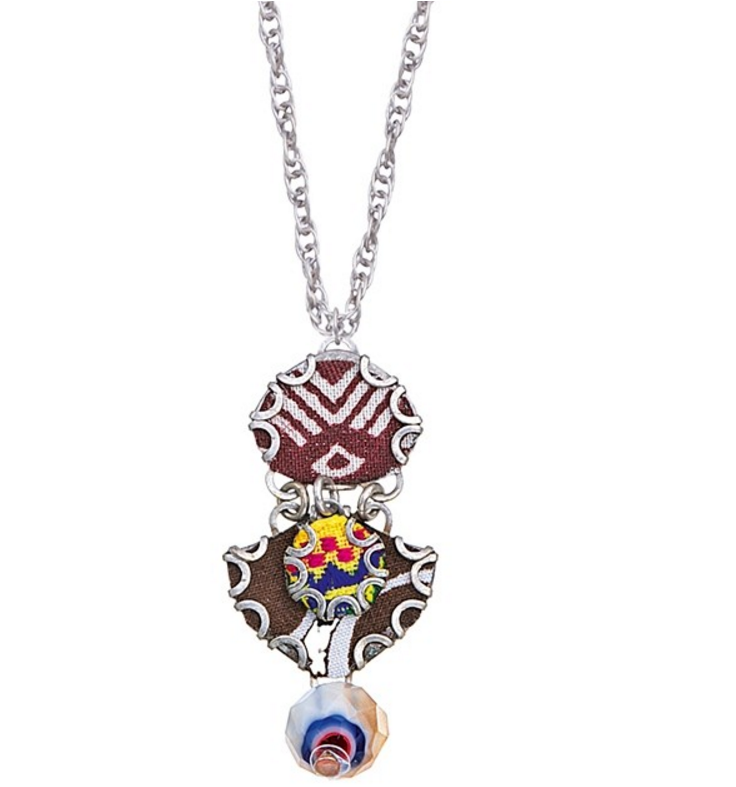 Ayala Bar pendant necklace with fabric, silver plated metal alloys and bead