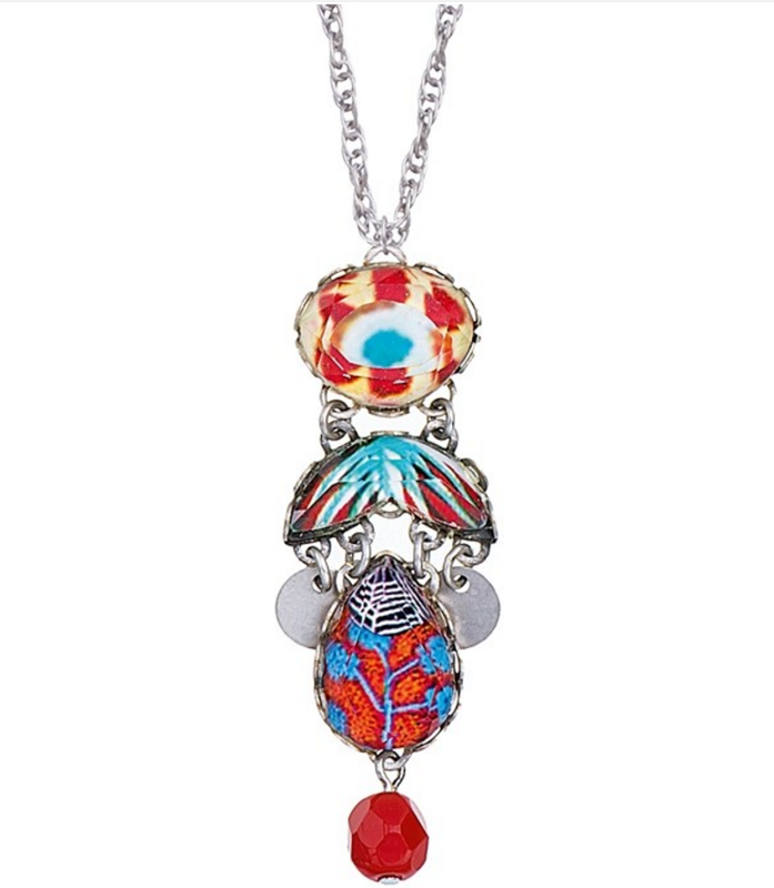 Ayala Bar - Pendant, necklace - turquoise and coral hues - beads, ceramic, silverplated metal