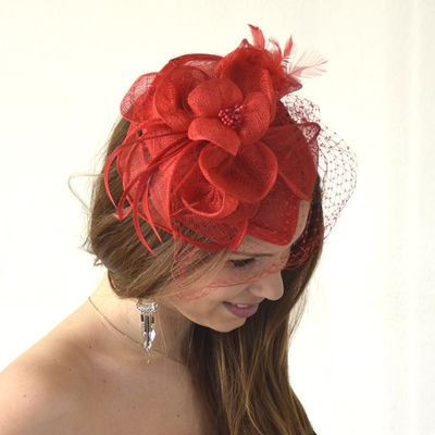 Red veil hat with feathers, sinamay flowers and pearls