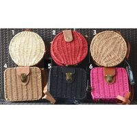 Little bags in strawlike paper fabric, hand woven