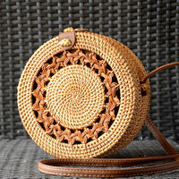 Rattan bag - tambourine-shaped - hand made - natural colour