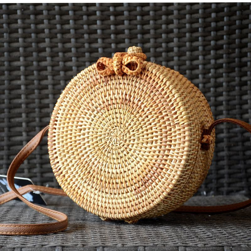 Tambourine-shaped rattan bag with shoulder strap