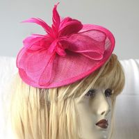 Wedding fascinator - sinamay and feathers - fuchsia, ivory or emerald green