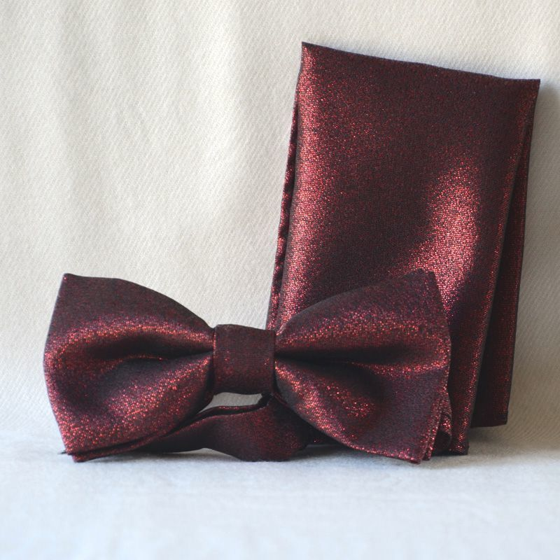 Bow tie for weddings, evenings, formal parties, galas - brilliant dark red with matching pocket square