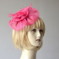 Wedding bibi headband - fuchsia sinamay