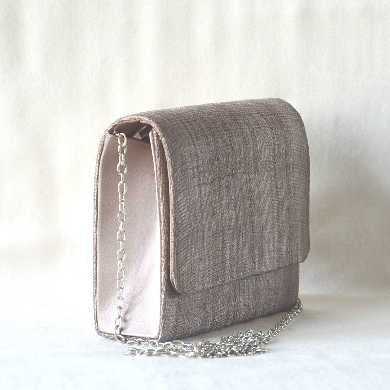 Little evening, wedding clutch - light brown sinamay