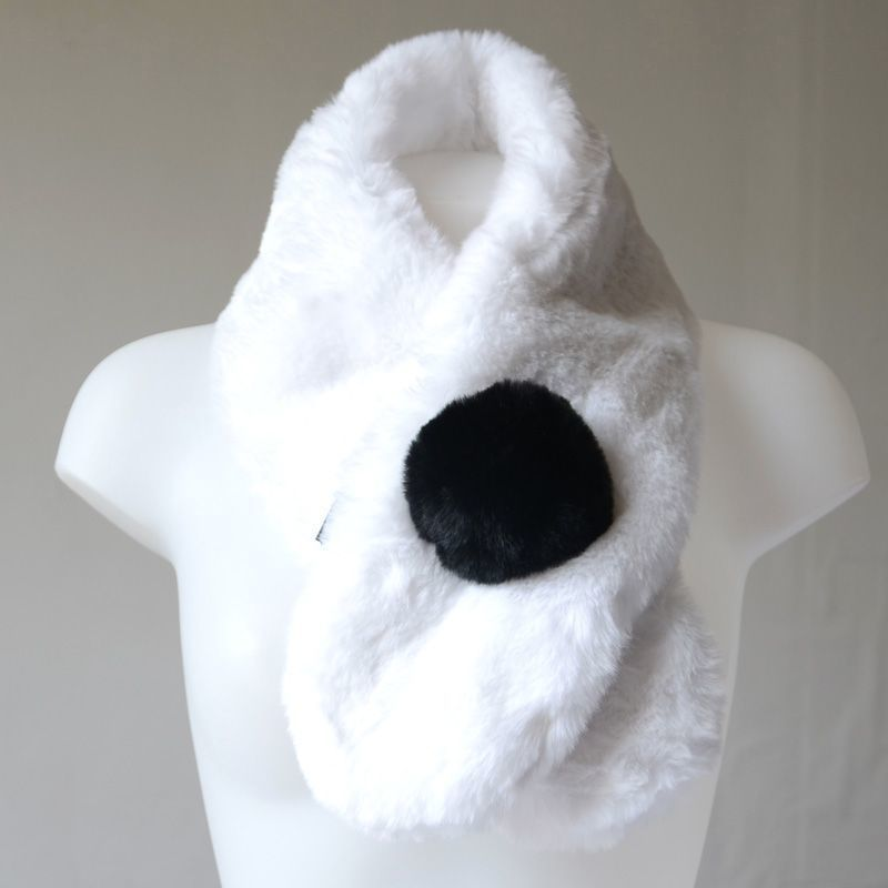 Fake fur scarf - black and white - to warm up your neck