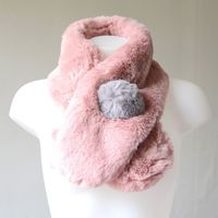 Powder pink and grey fake fur scarf