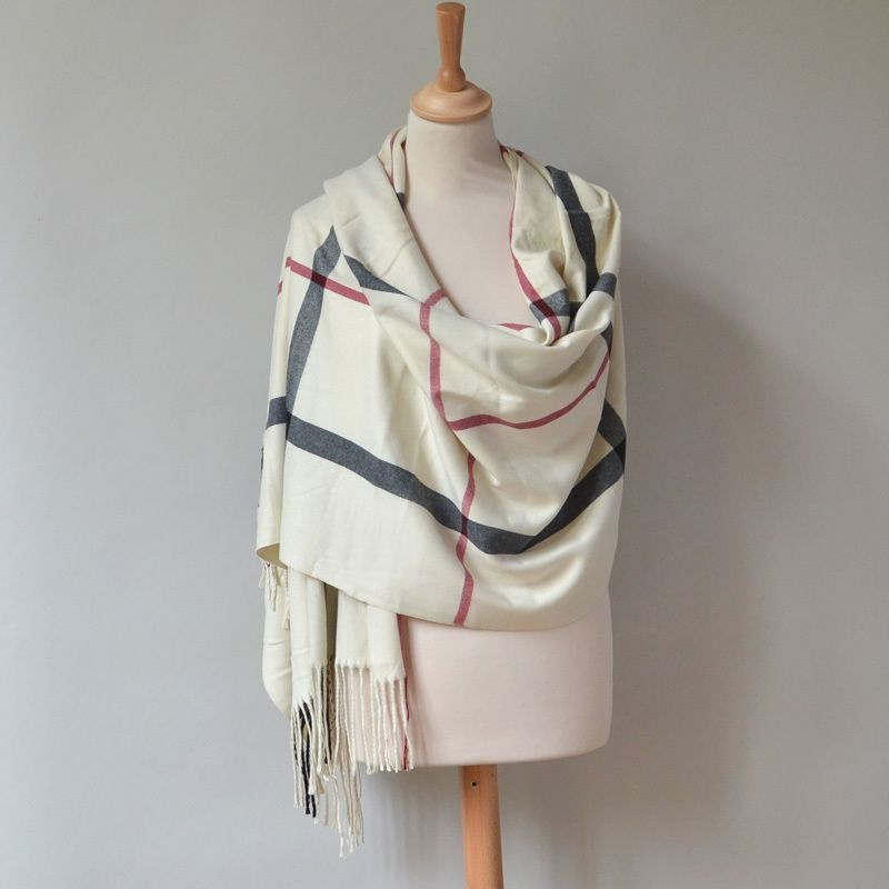 Cashmere, viscose and wool stole - Burberry print