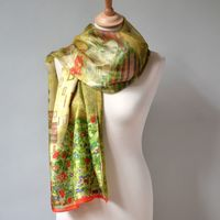 "Long and large wrap ""Klimt"" - 100 % silk"