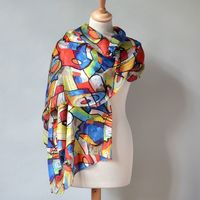 "Long and large wrap ""Kandinsky"" - 100 % silk"