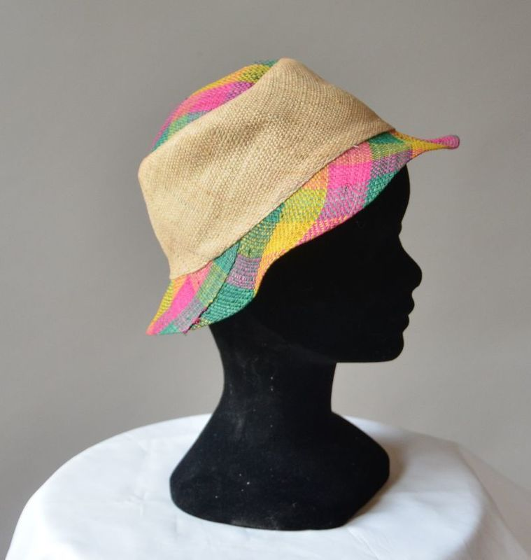 Hat for girls! strawhat nature fushia and green