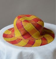 Little hat for girls - natural rafia/rabanne - yellow and red