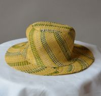 Little hat for girls - yellow/green - natural rabanne