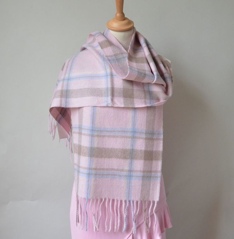 Pink tartan cashmere and wool scarf