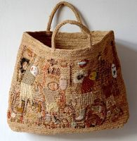 Sophie Digard creations - Hand embroidery raphia large tote bag