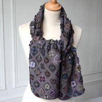 """Superb large scarf by Sophie Digard - """"Sealife in green"""" - hand crocheted"""