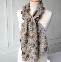 Sophie Digard - large and crocheted grey and beige scarf - 100 % merino wool
