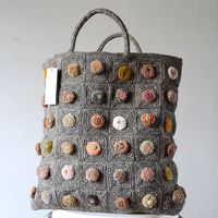 Sophie Digard - large tote bag - hand crocheted rafia and embroidered velvet domes
