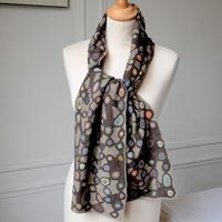 Sophie Digard - Large merino scarf - hand crocheted - brown, beige and other colours