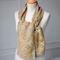 "Sophie Digard linen scarf - ""in the rough"" - pastel colours - geometric pattern"