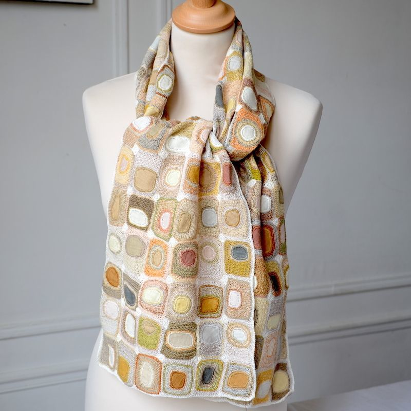 Sophie Digard hand crocheted linen scarf - pastel hues