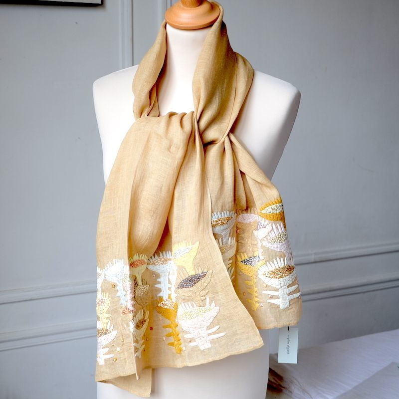 Large Sophie Digard stole - golden sand linen veil with hand embroideries