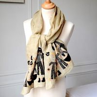 Sophie Digard - Large beige and black stole - linen veil with embroideries and appliqués