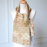 Sophie Digard - hand crocheted scarf - 100 % linen - soft colours