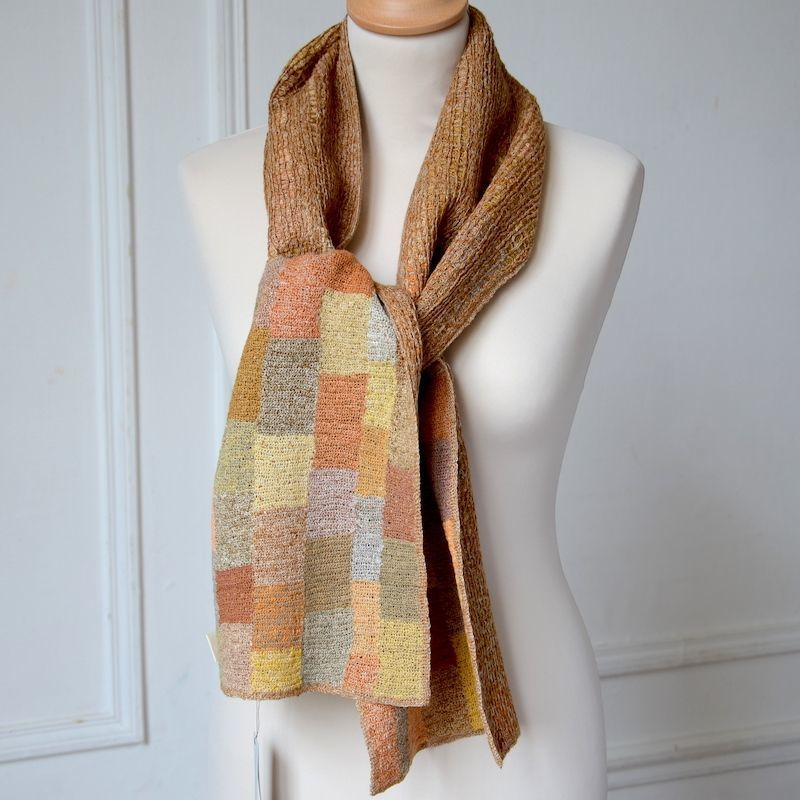 Sophie Digard creations - long linen scarf - hand crocheted - 2 sides
