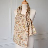 Sophie Digard - hand crocheted linen scarf - soft hues : cement, light brown, ocres, pale orange...
