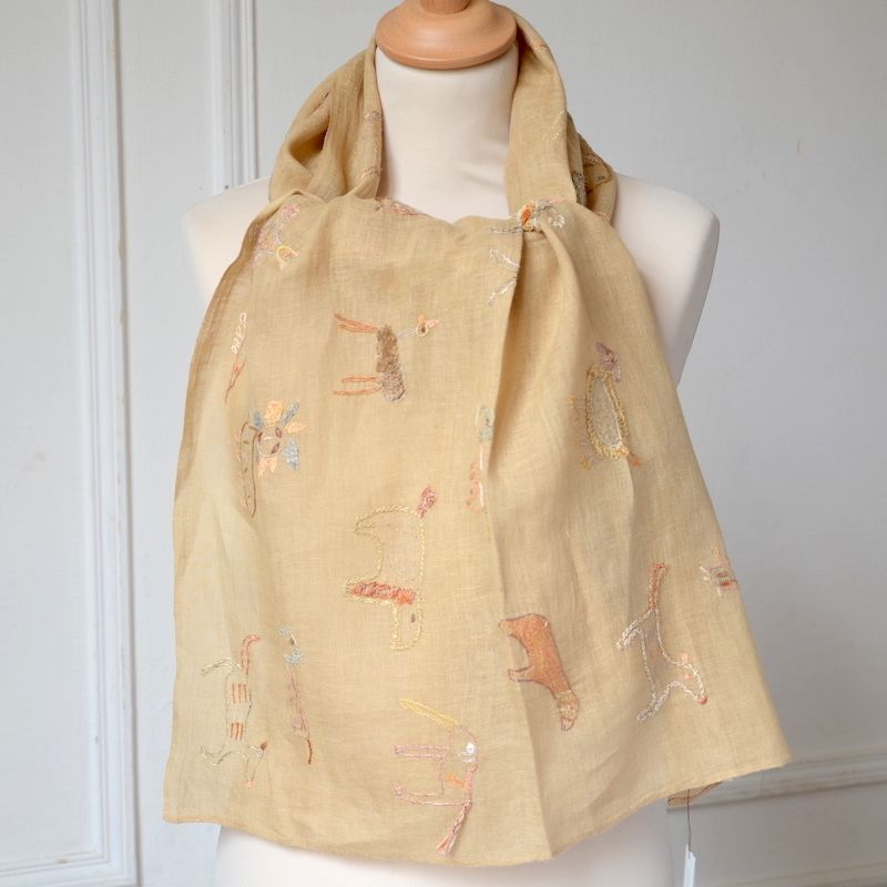 Sophie Digard - long and large stole - 100 % linen veil - honey colour - all hand embroidered
