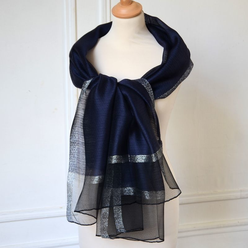 New : Long and wide navy/silver stole - Silk and viscose - For weddings, formal evenings...