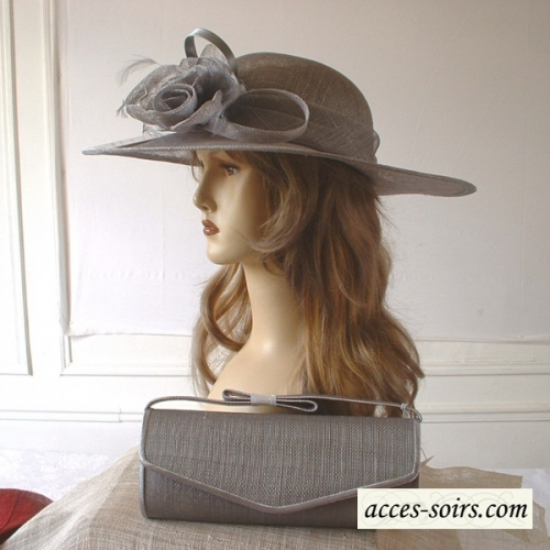 Asymetrical greenish grey sinamay wedding hat