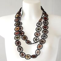 Sophie Digard - Very long necklace /sautoir - hand made - dark grey, rost, blue, ocre...